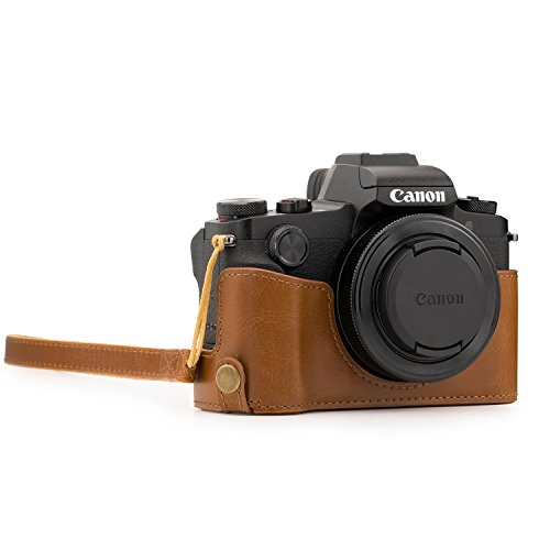 MegaGear MG1389 Ever Ready Leather Half Case and Strap with Battery Access for Canon PowerShot G1 X Mark III Camera - Light Brown from MegaGear