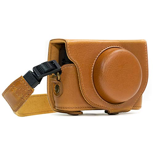 MegaGear MG590 Sony Cyber-shot DSC-RX100 VI, DSC-RX100 V, DSC-RX100 IV Ever Ready Leather Camera Case with Strap - Light Brown from MegaGear