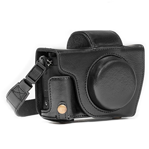 MegaGear MG688 Ever Ready Leather Case and Strap with Battery Access for Canon PowerShot G5 X Camera - Black from MegaGear