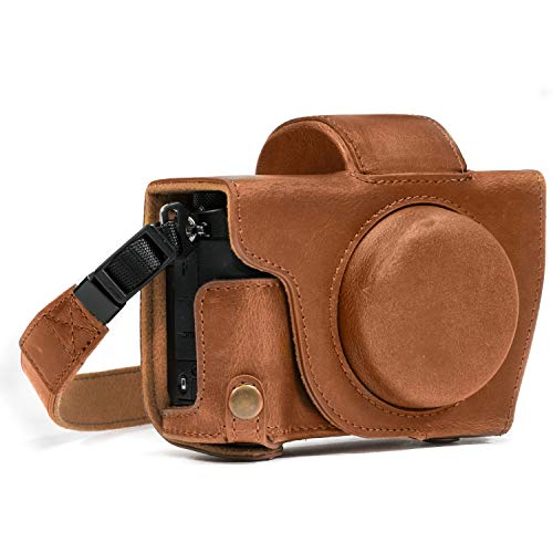 MegaGear MG689 Ever Ready Leather Case and Strap with Battery Access for Canon PowerShot G5 X Camera - Light Brown from MegaGear