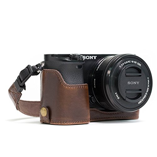 MegaGear MG961 Ever Ready Leather Half Case and Strap with Battery Access for Sony Alpha A6300/A6000 Camera - Dark Brown from MegaGear