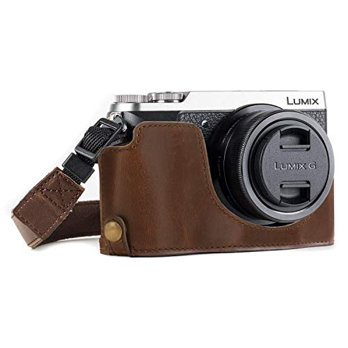 MegaGear MG973 Ever Ready Leather Half Case and Strap with Battery Access for Panasonic Lumix DMC-GX85/GX80 Camera - Dark Brown from MegaGear