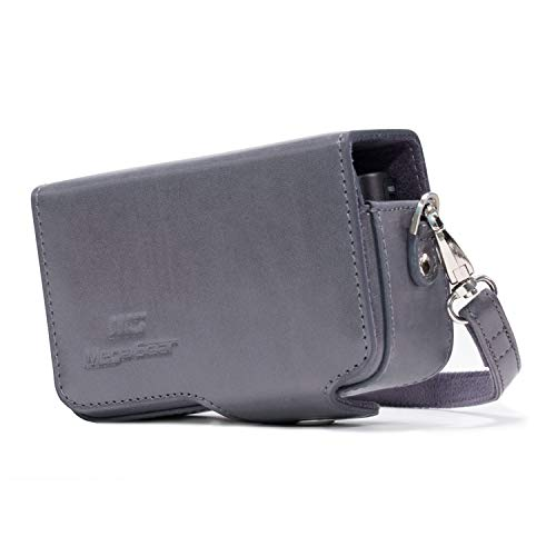 MegaGear MG1209 Sony Cyber-shot DSC-HX99, DSC-HX95, DSC-HX80, DSC-HX90V, DSC-WX500 Leather Camera Case with Strap - Gray from MegaGear