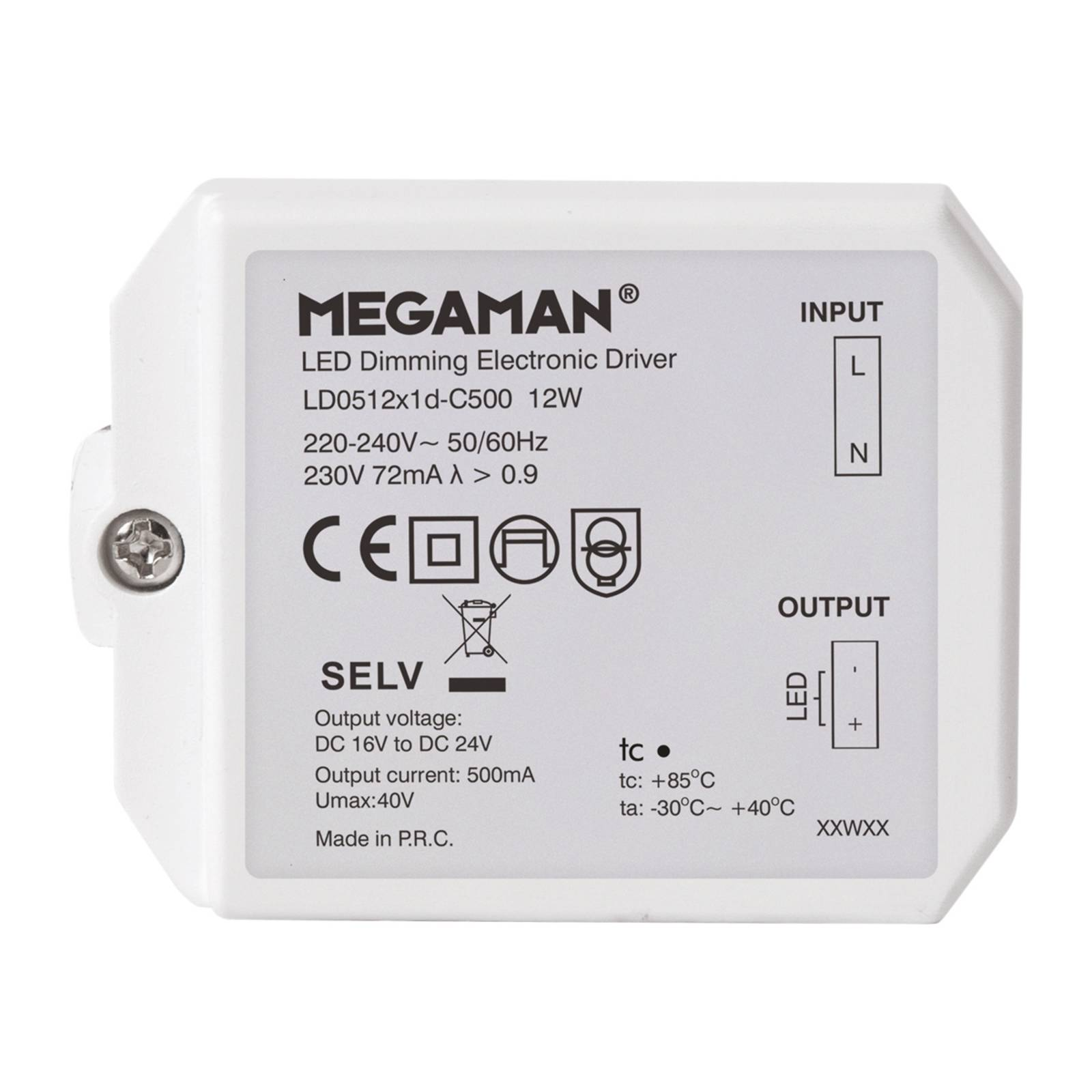 LED transformer for Rico HR, dimmable 12 W from Megaman