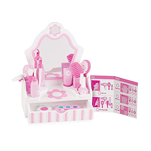 Melissa & Doug Wooden Beauty Salon Play Set, Role Play, Vanity & Accessories, 18 Pieces from Melissa & Doug