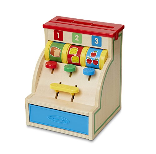Melissa & Doug 13378 Spin and Swipe Cash Register Wooden Toy with 3 Play Coins/Pretend Credit Card, Multi-Colour from Melissa & Doug