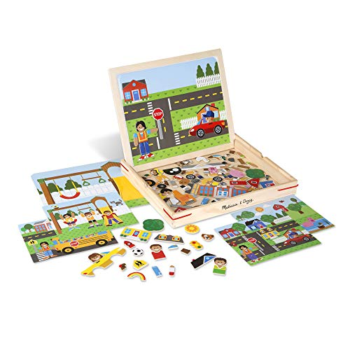 Melissa & Doug 19918 Wooden Matching Picture Game with 119 Magnets and Scene Cards, Multi-Colour from Melissa & Doug