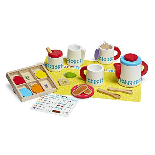 Melissa & Doug Wooden Steep & Serve Tea Set (Pretend Play, All-Wood Tea Service, Brightly coloured Tags, 30.48 cm H x 38.1 cm W x 8.89 cm L) from Melissa & Doug