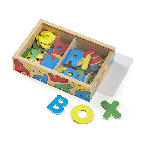 Melissa & Doug 52 Wooden Alphabet Magnets in a Box (Developmental Toys, Sturdy Wooden Construction, 52 Pieces, 19.812 cm H × 13.843 cm W × 4.699 cm L) from Melissa & Doug