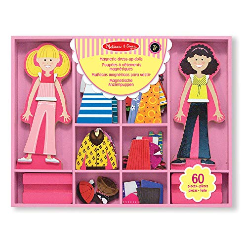 Melissa & Doug Abby and Emma Deluxe Magnetic Wooden Dress-Up Dolls Play Set (55+ pcs) from Melissa & Doug