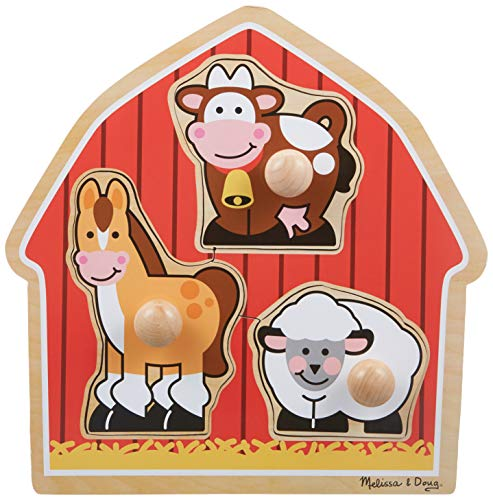 Melissa & Doug Barnyard Animals Jumbo Knob Wooden Puzzle - Horse, Cow, and Sheep from Melissa & Doug