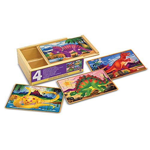 Melissa & Doug Dinosaur Jigsaw Puzzles in a Box (Four Wooden Puzzles in Wooden Storage Box, 12 Pieces, Great Gift for Girls and Boys - Kids Dinosaur Toy Best for 3, 4, 5, and 6 Year Olds) from Melissa & Doug