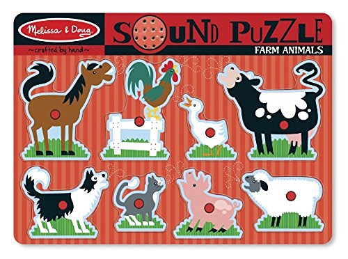Melissa & Doug Farm Animals Sound Puzzle - Wooden Peg Puzzle With Sound Effects (8 pcs) from Melissa & Doug