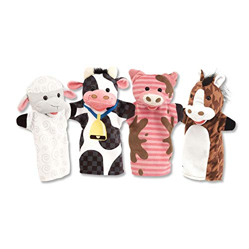 Melissa & Doug Farm Friends Hand Puppets (Set of 4) - Cow, Horse, Sheep, and Pig from Melissa & Doug