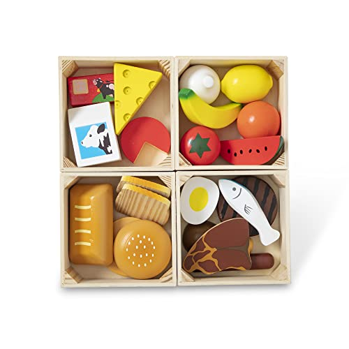 Melissa & Doug 271,10271 Food 271 Groups - 21 Hand-Painted Wooden Pieces and 4 Crates, multicolour from Melissa & Doug