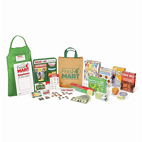 Melissa & Doug Fresh Mart Grocery Store Companion Collection (Play Sets & Kitchens, Multiple Role Play Items, Helps Develop Social Skills) from Melissa & Doug