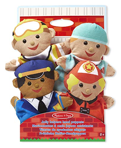 Melissa & Doug Jolly Helpers Hand Puppets (Set of 4) - Construction Worker, Doctor, Police Officer, and Firefighter from Melissa & Doug