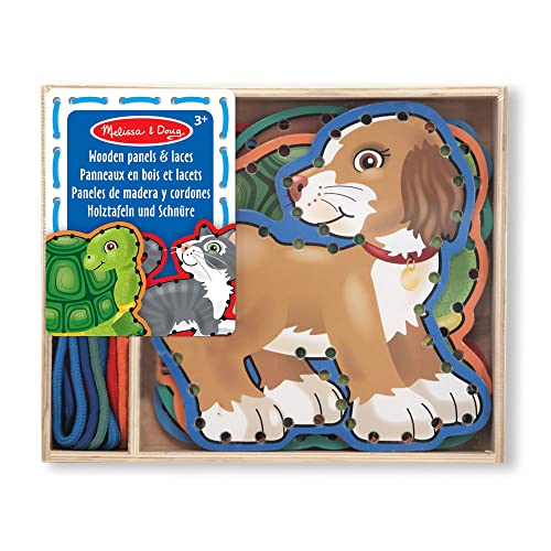 Melissa & Doug Lace and Trace Activity Set: Pets - 5 Wooden Panels and 5 Matching Laces from Melissa & Doug