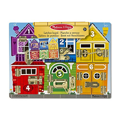 Melissa & Doug Wooden Latches Board (Developmental Toy, Sturdy Wooden Construction, Helps Develop Fine Motor Skills, 39.37 cm H x 29.21 cm W x 3.175 cm L) from Melissa & Doug