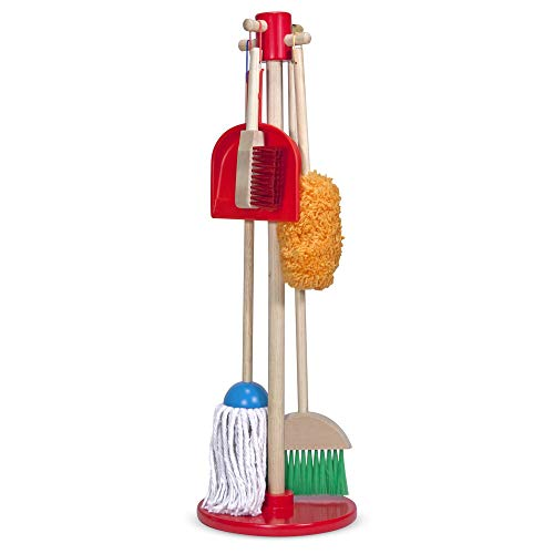 Melissa & Doug, Let's Play House! Dust! Sweep! Mop! Pretend Play Set (6-piece, Kid-Sized with Housekeeping Broom, Mop, Duster and Organising Stand for Skill- and Confidence-Building) from Melissa & Doug