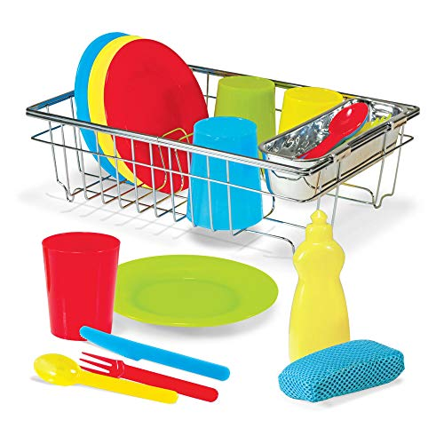 Melissa & Doug Let's Play House! Wash & Dry Dish Set (4 Place Settings, Use with Kitchen Set or Stand-Alone, 24 Pieces, 10.16 cm H x 29.21 cm W x 21.59 cm L) from Melissa & Doug