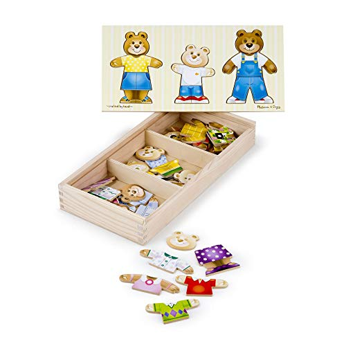 Melissa & Doug Bear Family Dress-Up Puzzle (Preschool, Mix-and-Match Outfits, Durable Wooden Construction, Sturdy Storage Box, 31.75 cm H x 15.748 cm W x 5.08 cm L) from Melissa & Doug