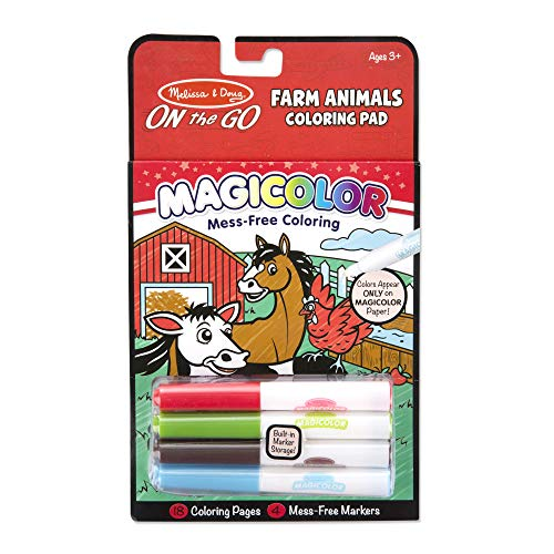 Melissa & Doug On the Go Magicolor Colouring Pad: Farm Animals - 18 Pages, 4 Markers from Melissa & Doug