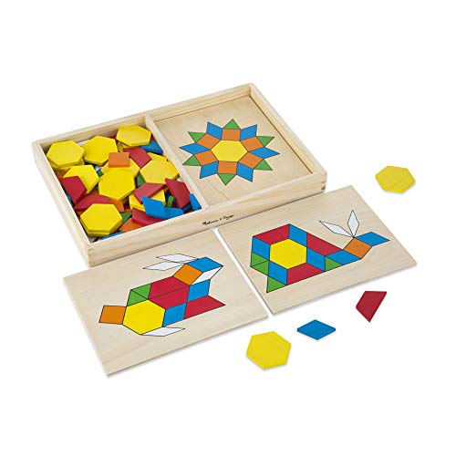 Melissa & Doug Pattern Blocks and Boards Classic Toy (Developmental Toy, Wooden Shape Blocks, 120 Shapes & 5 Boards, Great Gift for Girls and Boys - Best for 3, 4, 5, and 6 Year Olds) from Melissa & Doug