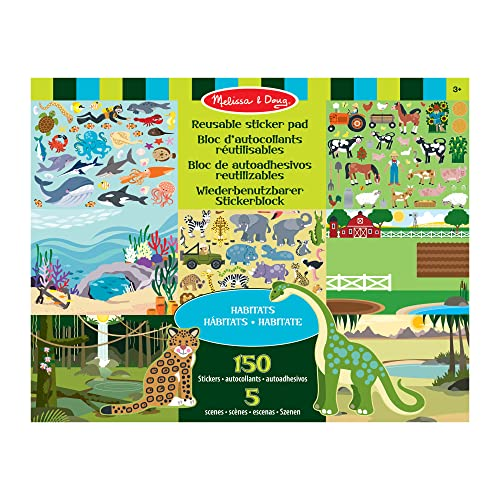 Melissa & Doug Habitats Reusable Sticker Pad (Extra Large Sticker Activity Pad, Removable Backgrounds, 150 Stickers) from Melissa & Doug