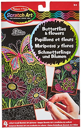 Melissa & Doug Scratch Art Activity Kit: Butterflies and Flowers - 4 Boards, Wooden Stylus from Melissa & Doug