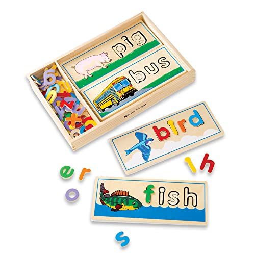 Melissa & Doug See & Spell Wooden Educational Toy With 8 Double-Sided Spelling Boards and 50+ Letters from Melissa & Doug