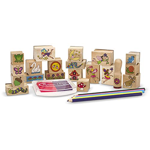 Melissa & Doug Stamp-a-Scene Stamp Pad: Fairy Garden - 20 Wooden Stamps, 5 Coloured Pencils, and 2-Colour Stamp Pad from Melissa & Doug