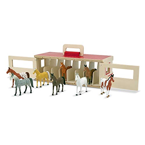 Melissa & Doug Take-Along Show-Horse Stable Play Set (Pretend Play, Encourages Creative Learning, 8 Toy Horses) from Melissa & Doug