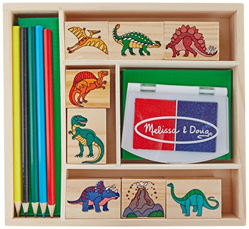 Melissa & Doug Wooden Stamp Set - Dinosaurs (Arts and Crafts, Sturdy Wooden Storage Box, Washable Ink, 14 Pieces) from Melissa & Doug