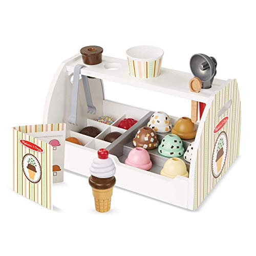Melissa & Doug Wooden Scoop & Serve Ice Cream Counter (Play Food and Accessories, 28 Pieces, Realistic Scooper, 34.544 cm H x 21.844 cm W x 19.558 cm L) from Melissa & Doug