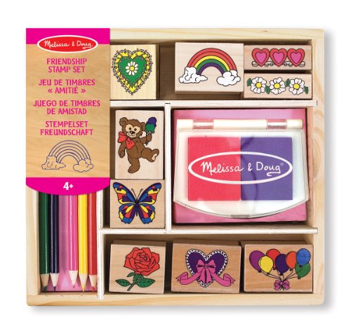 Melissa & Doug Wooden Stamp Set: Friendship - 9 Stamps, 5 Coloured Pencils, and 2-Colour Stamp Pad from Melissa & Doug