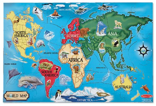 "Melissa & Doug World Map Jumbo Jigsaw Floor Puzzle (Wipe-Clean Surface, Teaches Geography & Shapes, 33 Pieces, 24"" L x 36"" W) from Melissa & Doug"