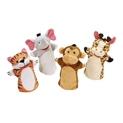 Melissa & Doug Zoo Friends Hand Puppets (Puppet Sets, Elephant, Giraffe, Tiger, and Monkey, Soft Plush Material) from Melissa & Doug