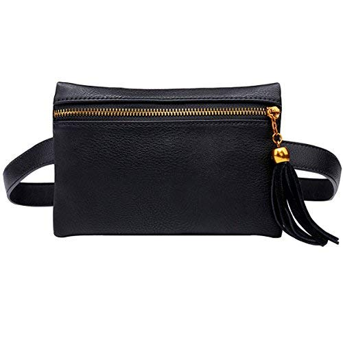 Meliya Fashion Women Waist Bag Mini PU Leather Travel Bumbag Retro Fanny Pack Cell Phone Pouch Tassels (Black) from Meliya