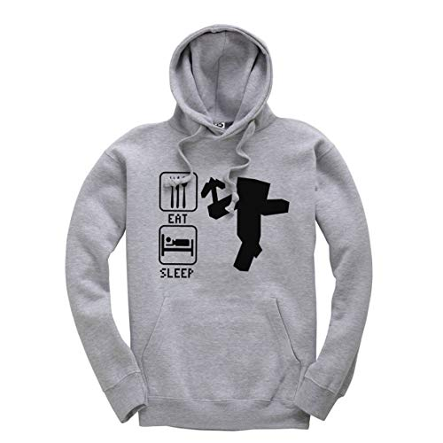 Eat Sleep Mine Unisex Hoodie Childrens Boys Girls Kids Gaming Hooded Top Jumper Heather Grey from Mellor Design