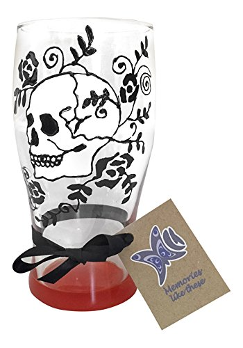 Memories-Like-These UK Skull Glass Hand Painted Glass Pint with an orange base from Memories-Like-These UK