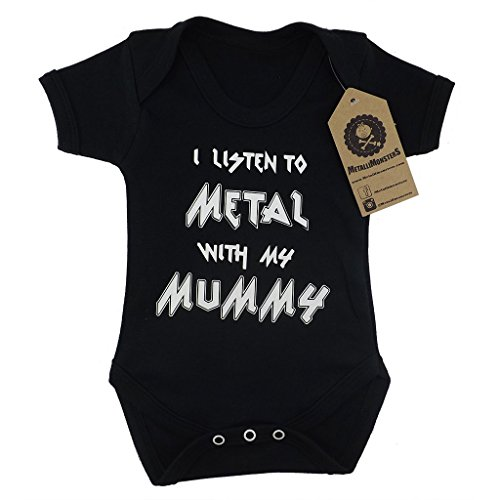 Metallimonsters 'I listen to Metal with my Mummy' black baby vest (6-12 months) from Metallimonsters