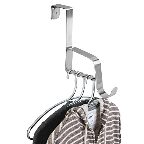 mDesign Wardrobe Hooks – Stainless Steel Coat Rails for Hanging Over The Door – for Coats, Jackets, Towels and More – Door Hooks for Hallways, Toilets and Perfect for Wardrobes – Brushed Steel from MetroDecor