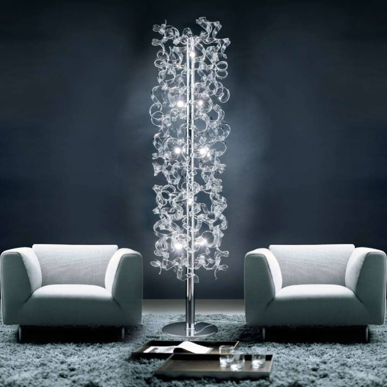 Crystal floor lamp covered in crystals from Mettallux