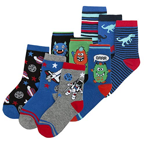 Boys Novelty Cotton Rich Socks (9 & 18 Pairs Multipack) Dinosaurs Space Monster Skulls Football from Metzuyan