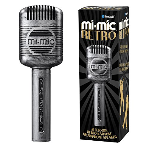 Mi-Mic Kids Karaoke Microphone Speaker with Wireless Bluetooth and Voice Changer, Retro, Black from Mi-Mic