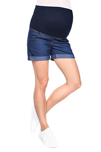 Mija - Maternity shorts pants trousers with over bump panel 3086 (10, Denim Blue) from Mija Arts