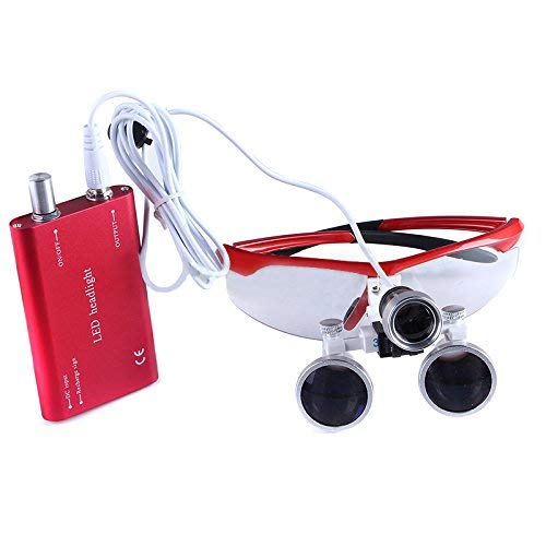 Mike-Dental Portable Surgical Binocular Loupes Optical Glass 3.5X-R with Head LED Light Lamp Different Colors (Red) from Mike-Dental