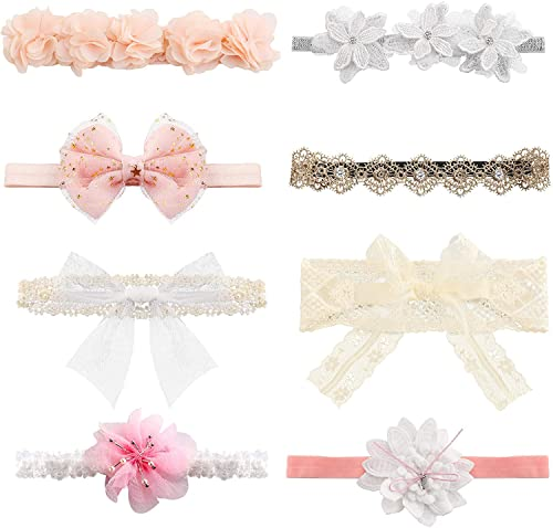 Milacolato 8Pcs Baby Girls Headbands Super Stretchy Headband and Bows for Newborn Lace Petals Flower Hair Accessories Baby Girl Gift from Milacolato