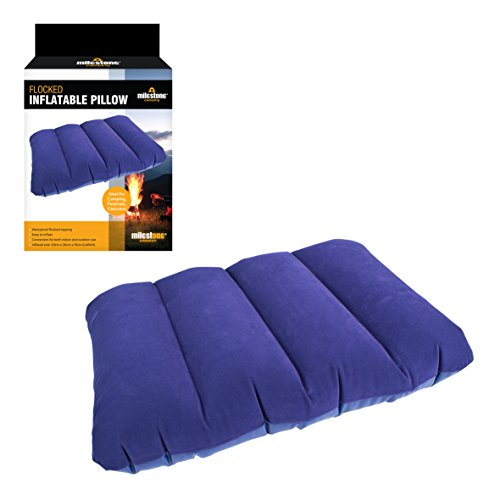 Milestone Camping 88070 Flocked Inflatable Camping Pillow Ultralight Portable Ergonomic Pillow Air Cushion Sleeping Bag Outdoor Travel Backpacking in Blue from Milestone Camping
